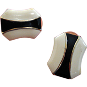 Vintage Black and Cream Enamel Pierced Earrings with Gold Trim