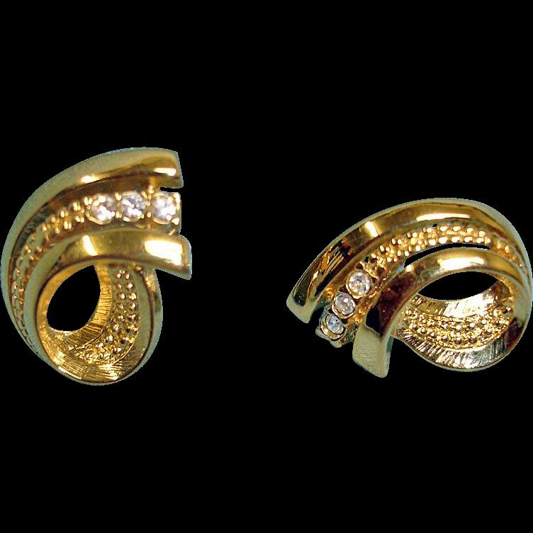 Vintage Gold Tone Rhinestones Pierced Earrings