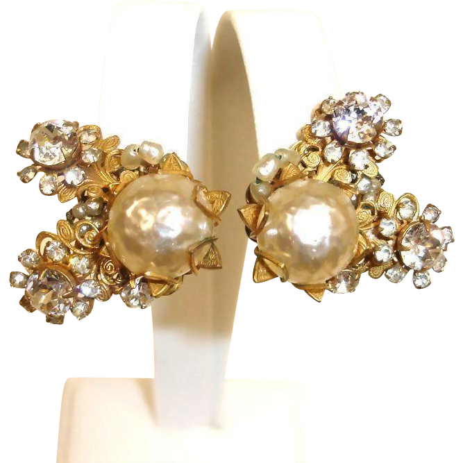 Miriam Haskell Glass Baroque Pearl and Rhinestone Earrings – Vintage HASKELL Jewelry
