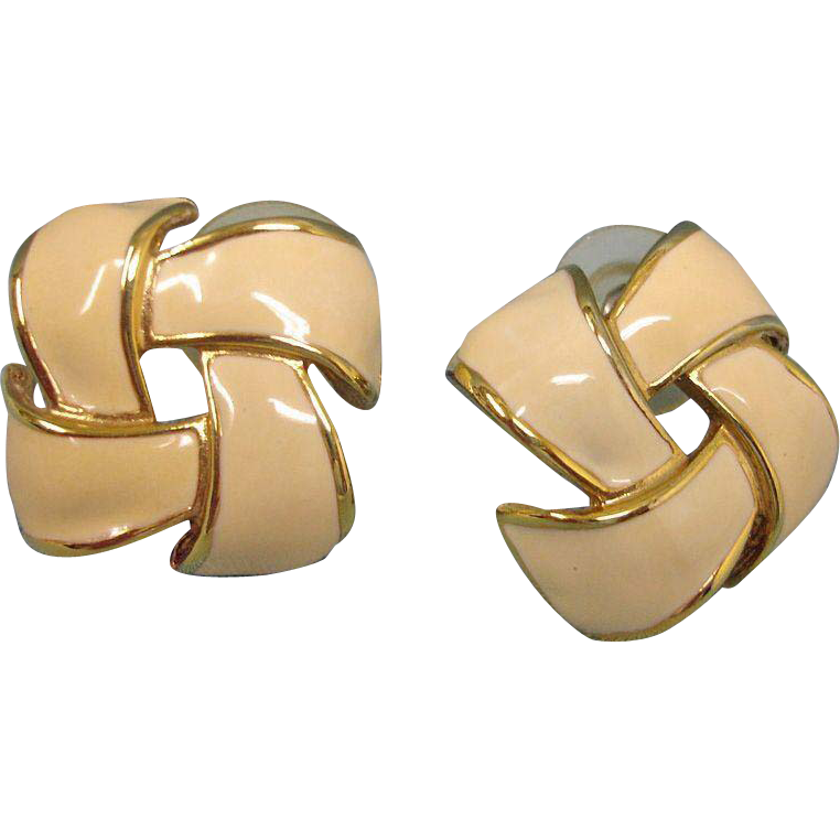 Vintage Creamy Beige Enamel Gold Tone Earrings - Pierced Earrings