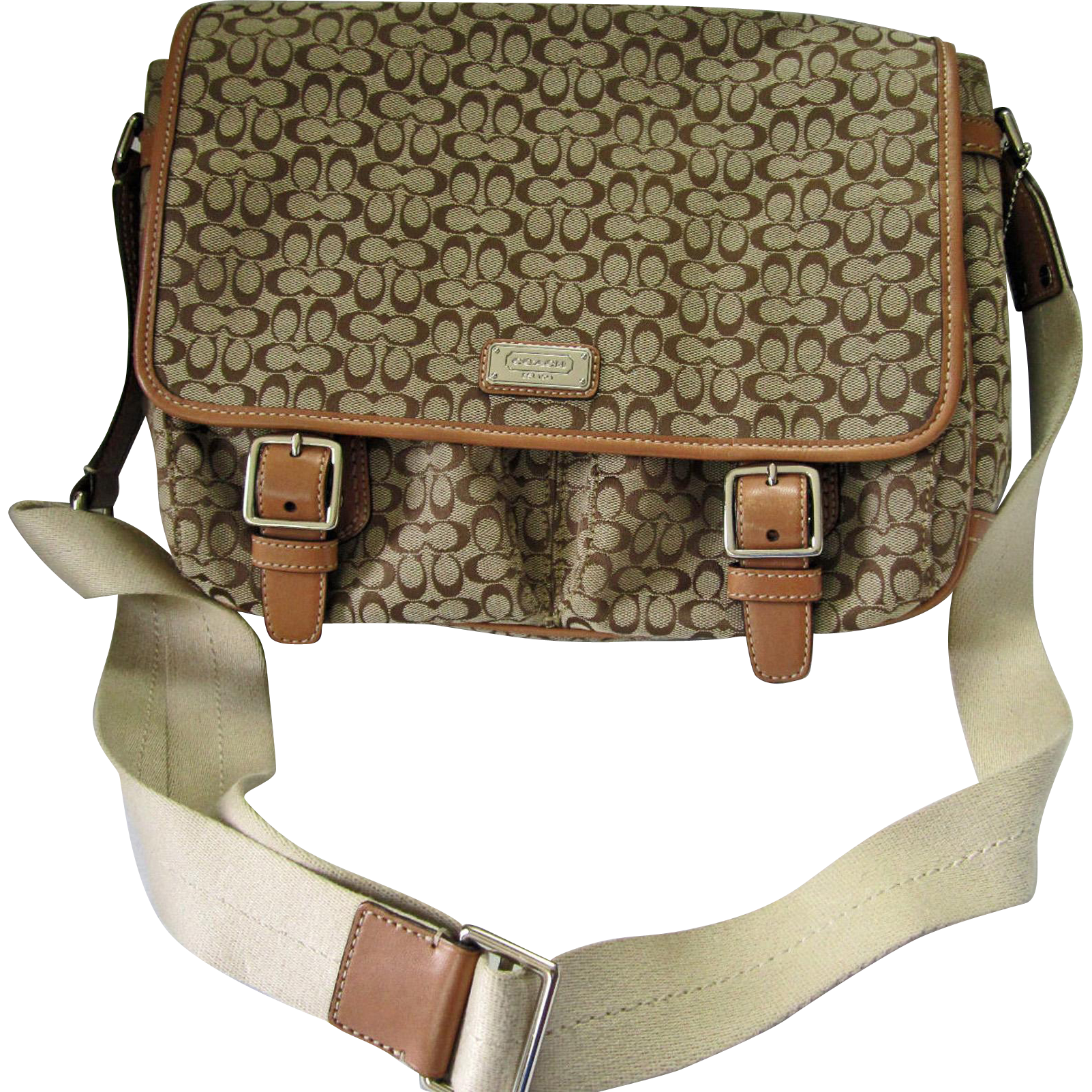 Coach Khaki Signature Messenger Bag – COACH Monogram Crossbody or Shoulder Bag