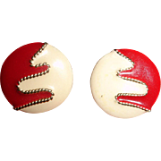 Vintage Enamel Post Stud Pierced Earrings - Red, Cream and Gold Tone Trim