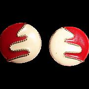 Vintage Enamel Post Stud Pierced Earrings - Red, Cream and Gold Tone Trim