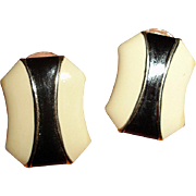 Vintage Black and Cream White Enamel Pierced Earrings with Gold Trim