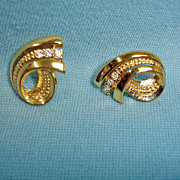 Vintage Gold Tone Rhinestones Pierced Earrings