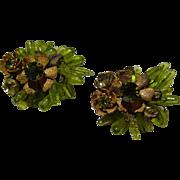 MIRIAM HASKELL Floral Cluster Earrings - Vintage Miriam Haskell Jewelry