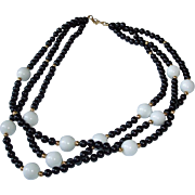 "Vintage Monet Black White Golden - 3 Strand MONET Necklace - 17"" Long"