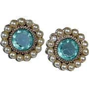 Estate Turquoise Blue Rhinestone Pierced Earrings - Faux Seed Pearl Surround