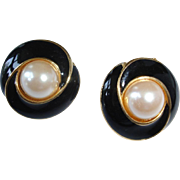Estate Black Enamel and White Faux Pearl Pierced Earrings