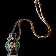 Vintage 14K Gold Italy Chain with Cloisonne Vase Vessel Pitcher Pendant