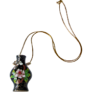Vintage 14K Gold Italy Chain with Cloisonne Vase Vessel Pitcher Pendant