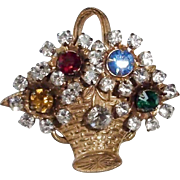 Older Multi Color Rhinestone Basket Brooch Pin