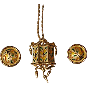 "Vintage Crown Trifari  "" L'Orient "" Brooch / Pendant and Earrings  Set - Demi Parure"