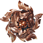 Vintage Copper Flower Brooch Pin - Copper by Bell