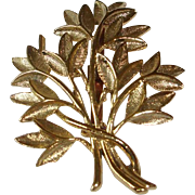 Vintage Gold Plated Brooch - Leaves