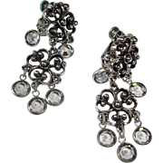 Vintage Silver Tone Dangle earrings with Faceted Crystals