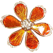 Vintage Orange Enamel Brooch with Rhinestones