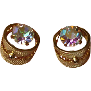 Vintage Aurora Borealis Gold Tone Pierced Earrings -  AB Rhinestone  Stud Earrings