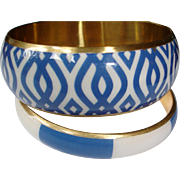 Vintage Blue and White Enamel Bangle Bracelet SET - 2 Bracelets