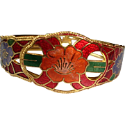Vintage Cloisonne Bangle Hinged Bracelet