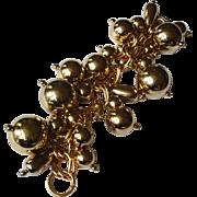 Vintage Golden Ball  Bracelet - Gold Tone Charm Bracelet