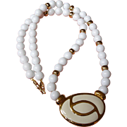 Vintage NAPIER  White and Gold Necklace with Central Medallion