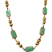 Vintage Green Enamel and Gold Tone Necklace