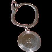 "Vintage MONET Bracelet - Initial  ""L""  Silver Tone Bracelet - Letter Monogram L Disk Bracelet"