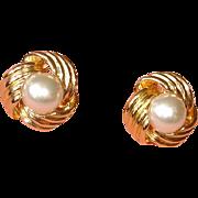 Vintage Faux Pearl Pierced Earrings- Marked VON