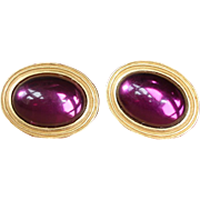 Vintage Purple Cabochon Post Pierced Earrings