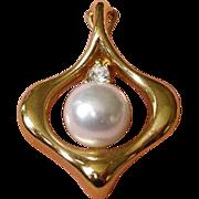 Vintage KREMENTZ  Pearl and Cubic Zirconia  Pendant