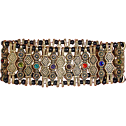 Vintage Stretch Woven Bracelet with Rhinestones