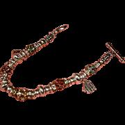 "Estate #1 MOM Charm Bracelet - Silver Color  "" MOM ""  Rhinestone  and Charm Bracelet"