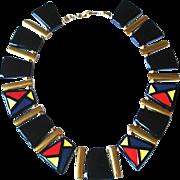 Vintage Black and Multi Color NAPIER Signed necklace