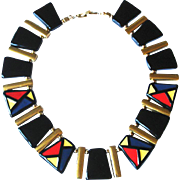 Vintage Black and Multi Color NAPIER Signed necklace
