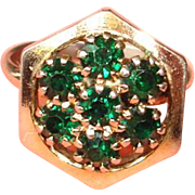Vintage Green Rhinestone Ring - Adjustable