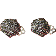 Vintage Marcasite Clip-On Earrings