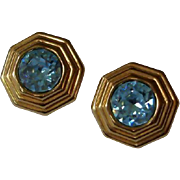Vintage Christian Dior Blue Rhinestone Clip Earrings