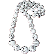 "Vintage White and Black Swirled Bead Necklace - 30"" Long"