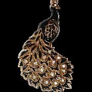 Vintage Rhinestone Peacock Pin Brooch