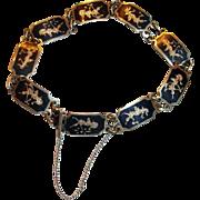 Vintage SIAM Sterling Silver and Niello Enamel ink Bracelet