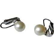 Crown Trifari Single Faux Pearl Earrings - Vintage Trifari Jewelry