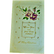 "Embossed ""Wish You Everything"" Christmas Postcard - Antique Christmas Post Card"