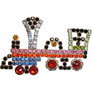 Unique  Kenneth J Lane TRAIN Rhinestone Engine Brooch / Pin -  Vintage KJL Estate Jewelry