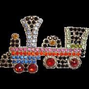 Vintage Kenneth J Lane  - TRAIN Rhinestone Engine Brooch  - KJL Jewelry
