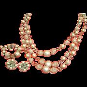 Vintage 3 Strand DEMI PARURE Jewelry - Vintage Necklace Bracelet & Earrings Set