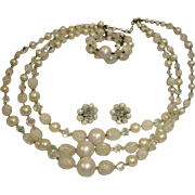 Vintage Three Strand White Necklace Earrings and Bracelet Demi Parure