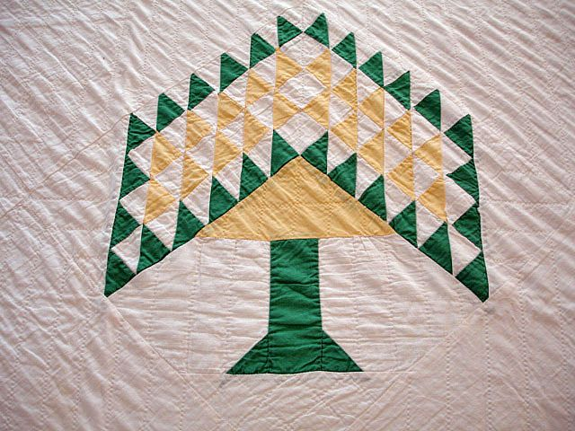 Antique Handmade American Quilt Centennial Tree Or Tree