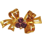 CORO Amethyst Rhinestone Bow Brooch - Gold Wash Vintage Jewelry by Coro