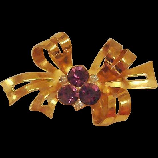 CORO Amethyst Rhinestone Bow Brooch - Gold Wash Vintage Jewelry by Coro